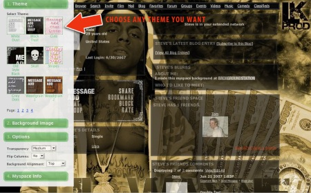 myspace background generator | Make Your Own MySpace Layout